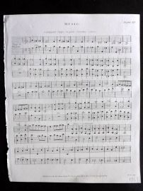 Rees 1820 Antique Print. Sheet Music 19 Contrappunto Doppio